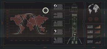 间隔发射接口火箭,图形显示控制器板台火箭 皇族释放例证