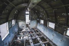 里面飞机击毁 在冰岛在夏天 免版税库存图片