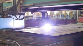 金属现代自动等离子切口由激光在生产,激光切割机,特写镜头,产业,工作的 股票录像