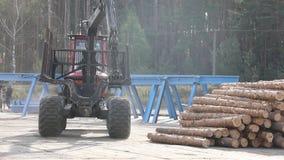 采伐卡车,日志卡车乘驾通过工厂 股票录像