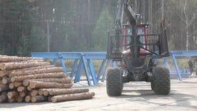 采伐卡车,日志卡车乘驾通过工厂 影视素材