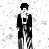 长的夹克、条纹裤子、上面和圆顶硬礼帽的时尚女孩 库存例证