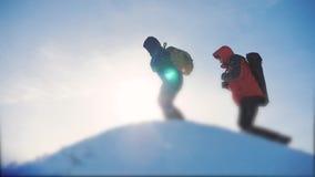 配合企业概念 小组队旅游徒步旅行者给攀登山的上面 成功胜利冬天到达了 股票录像