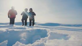 配合 攀登走的顶面山生活方式的人游人震动在雪脚的高峰小组队阳光剪影 股票录像
