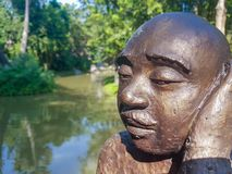 雕塑人面孔 免版税库存图片