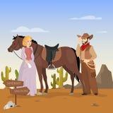 通配西方横向 与马的牛仔字符 库存例证