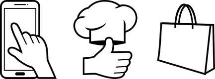 选择,命令的烹调和交付 三个逐步的象 库存例证