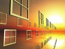 选择Windows到日落里 免版税图库摄影