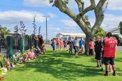 陶朗阿,新西兰的居民,地方清真寺团结聚集在克赖斯特切奇射击以后 免版税库存照片