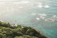 钻石头山灯塔檀香山夏威夷 图库摄影