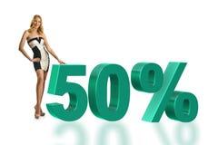 50%销售概念的妇女 图库摄影