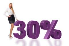 30%销售概念的妇女 图库摄影