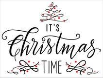 É caligrafia do tempo do Natal que floresce o cartão ilustração royalty free
