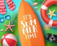 É conceito de projeto do vetor das horas de verão Texto do verão na prancha com elementos da praia ilustração stock