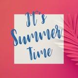 É conceitos das horas de verão com texto nas folhas tropicais pasteis no fundo da cor imagens de stock