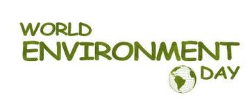 É 5 de junho o dia de ambiente de mundo Palavras feitas das folhas verdes no fundo branco O contorno do globo com os continentes  ilustração do vetor