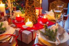 É hora para o jantar de Natal Imagens de Stock