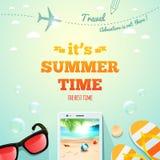É inscrição tipográfica das horas de verão no fundo dos objetos do verão Cartaz do verão Ilustração do vetor ilustração do vetor