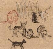 Gatos perto de uma cerca ilustração do vetor