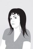 É preto um retrato branco da menina Ilustração Stock