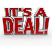 É um acordo ou uma venda das palavras do negócio 3D Fotos de Stock