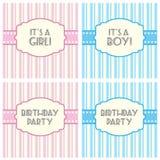 É um convite do anúncio do aniversário do menino da menina Foto de Stock