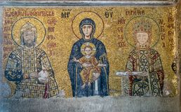 É um mosaico de épocas bizantinas nas paredes da galeria de Imagens de Stock Royalty Free