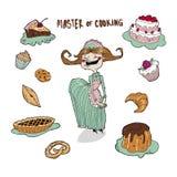 É uma culinária mestre, alegre e hábil! Cookies, bolos, queques e tortas, ele ` s toda certo! ilustração royalty free