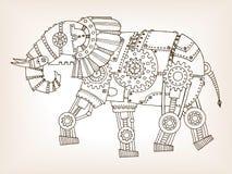 Ébauche antique de vecteur mécanique d'éléphant Photos stock
