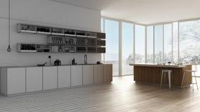 Ébauche non finie de projet, cuisine blanche minimaliste avec des armoires, étagères et île, l'espace ouvert avec la fenêtre pano illustration de vecteur
