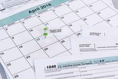 Échéance de 2017 impôts Photos libres de droits