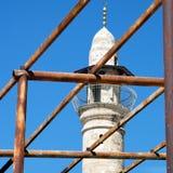 Échafaudage de Jaffa près de minaret de la mosquée 2011 d'Al-siksik Photo stock
