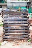 Échafaudage en acier, construction de bâtiments Bangkok Thaïlande Photos stock