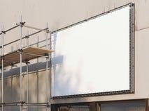 Échafaudage vide blanc de panneau d'affichage et en métal rendu 3d Photos stock