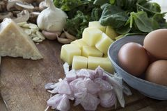 Échalotes fraîches et d'autres ingrédients Photographie stock