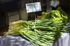 Échalotes sur la stalle du marché Photos stock