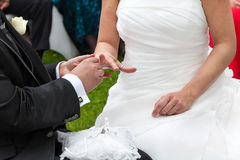 Échange d'anneau de mariage Photos libres de droits