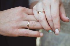 Échange d'anneau de mariage Photographie stock