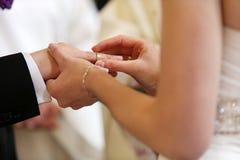 Échange d'anneaux de mariage Images libres de droits