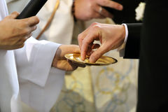 Échange d'anneaux de mariage photo libre de droits