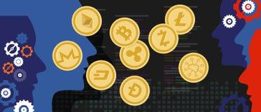 Échange d'argent virtuel de devise numérique réglée de bitcoin de pièce de monnaie de Cryptocurrency illustration libre de droits