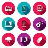 Échange d'informations les icônes plates de technologie réglées Images stock