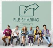 Échange de transfert des données partageant le concept de téléchargement de synchronisation Images libres de droits