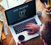 Échange de transfert des données partageant le concept de téléchargement de synchronisation images stock