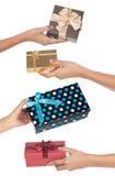 Échange financier de cadeau Photos libres de droits