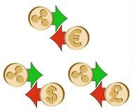 Échangez l'ondulation au dollar, à l'euro et à la livre britannique Image libre de droits