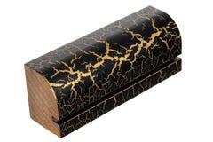 Échantillon d'élément en bois pour des portes et des fenêtres Conseil en bois peint par noir Photos libres de droits
