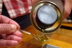Échantillon d'huile d'olive Photographie stock libre de droits