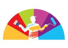 Échantillon de couleur de peintre de pièce Image stock