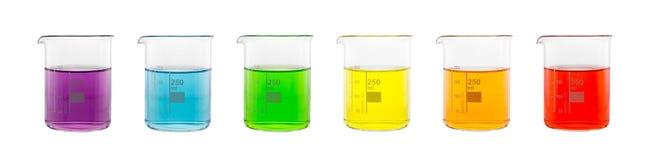 Échantillon de solution dans le becher en verre Image stock
